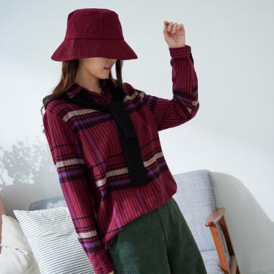 慢 生活 連帽披肩復古格紋襯衫- 紅/綠