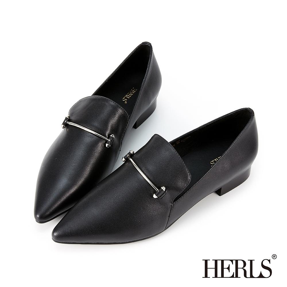 HERLS樂福鞋-全真皮時髦一字釦尖頭低跟鞋樂福鞋-黑色