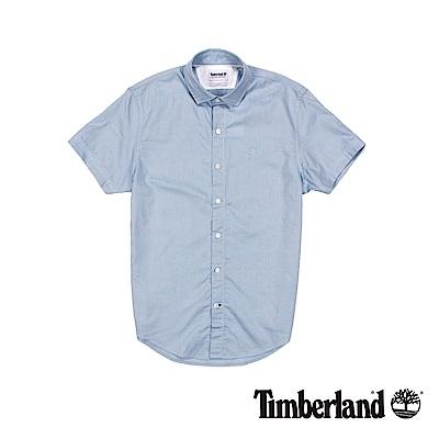 Timberland 男款藍色短袖牛津格子襯衫 | A1UMHG33