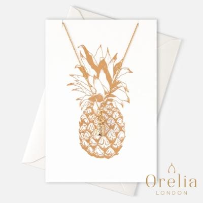 Orelia 英國倫敦 好運鳳梨鍍金墜飾項鍊 (附金箔禮品卡片)