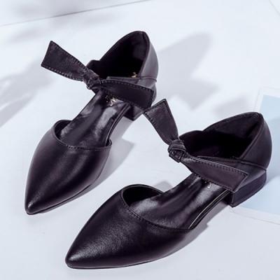 KEITH-WILL時尚鞋館 好評加碼素面綁帶尖頭鞋-黑