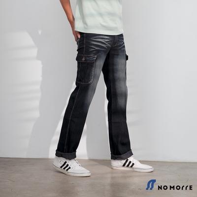 NoMorre 復古水洗刷色輕薄彈力丹寧工作褲-藍灰色