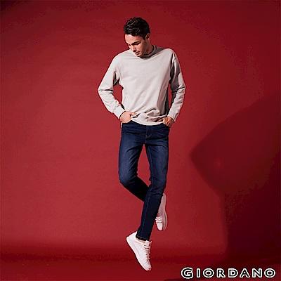 GIORDANO 男裝902 360度彈力修身牛仔褲-85 深藍