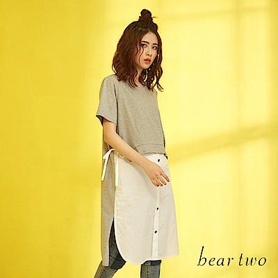 beartwo 休閒雪紡兩件式拼接長版上衣(二色)