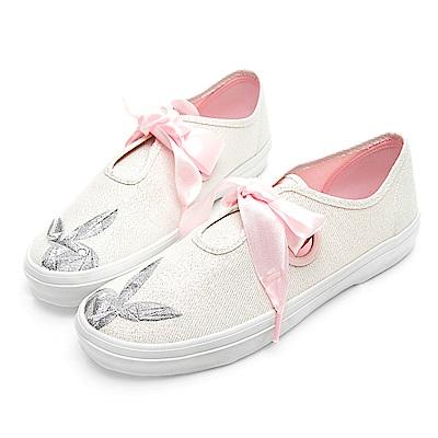 PLAYBOY 悠活亮蔥綁帶休閒鞋-白-Y520111