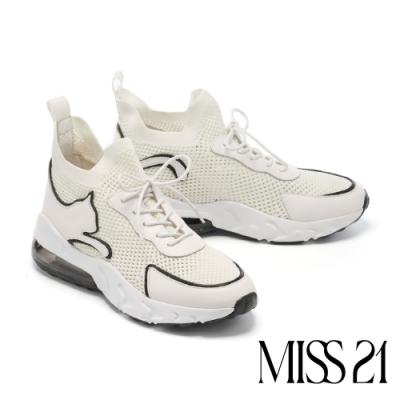 休閒鞋 MISS 21 街頭率性時髦異材質綁帶厚底休閒鞋-白