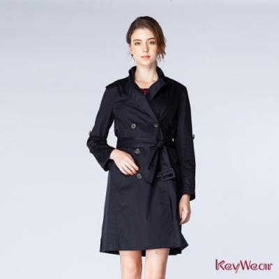 KeyWear奇威名品    經典絲光高密棉風衣-深藍色