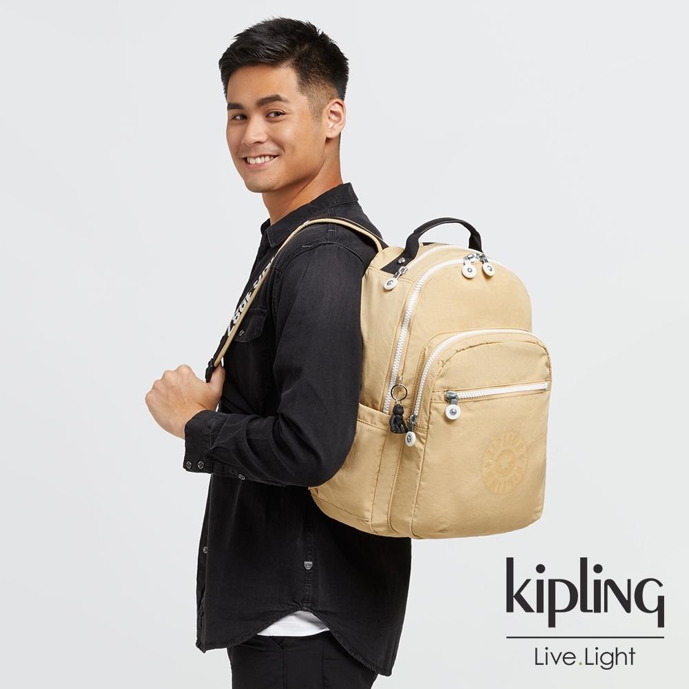 Kipling 焦糖拿鐵拼接黑色機能手提後背包-SEOUL