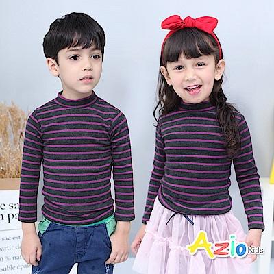 Azio Kids 上衣 磨毛條紋長袖保暖衣(紫)