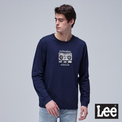 Lee 長袖薄T 收音機印花 男 深藍
