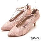 DIANA真豚皮蕾絲鑲鑽瑪莉珍尖頭細跟鞋-漫步雲端厚切輕盈美人-粉