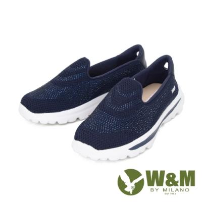 W&M (女)大圓頭亮鑽彈力厚底懶人鞋 女鞋 - 藍(另有 灰.紫)