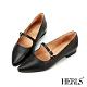 HERLS低跟鞋-全真皮瑪莉珍沖孔滾邊尖頭低跟鞋-黑色 product thumbnail 1