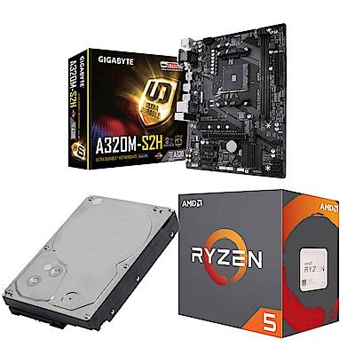 AMD Ryzen5 2400G+技嘉A320M-S2H+1TB硬碟 超值組