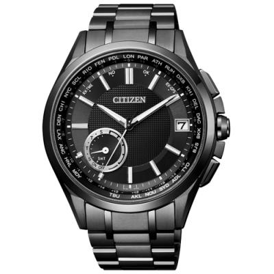 CITIZEN Eco-Drive  未來指標衛星對時鈦金屬腕錶-黑