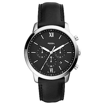 FOSSIL 墨硯黑潮經典三眼計時手錶(FS5452)-黑/44mm