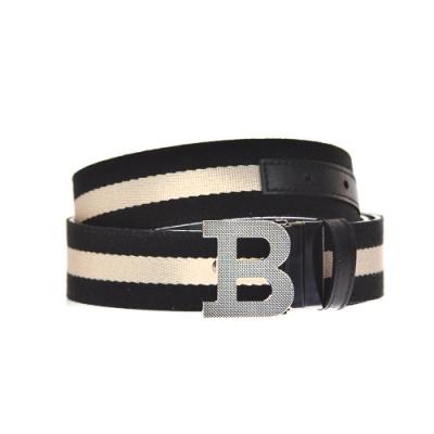 BALLY B BUCKLE 35 B字母釦黑白織帶雙面用黑牛皮腰帶