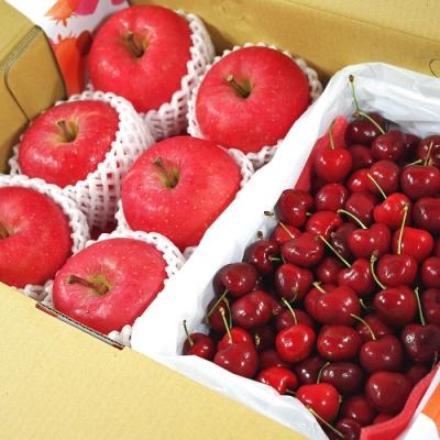 【鮮果日誌】富貴禮讚櫻桃禮盒(日本富士蘋果6入+櫻桃2.5台斤)