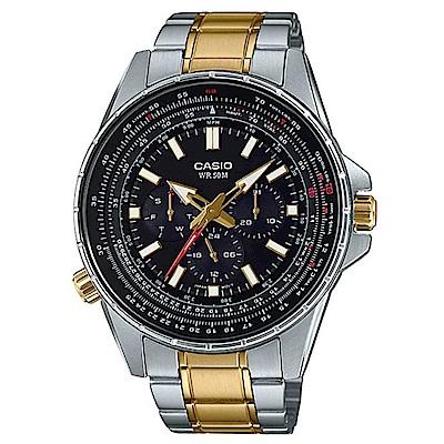CASIO 精密時刻三針三眼設計風格不鏽鋼錶-(MTP-SW320SG-1A)/47mm