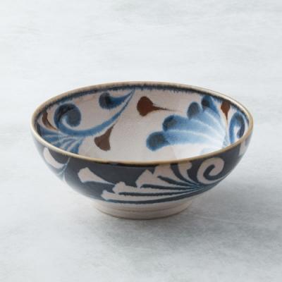有種創意 日本美濃燒-筆青釉繪大碗 - 唐草