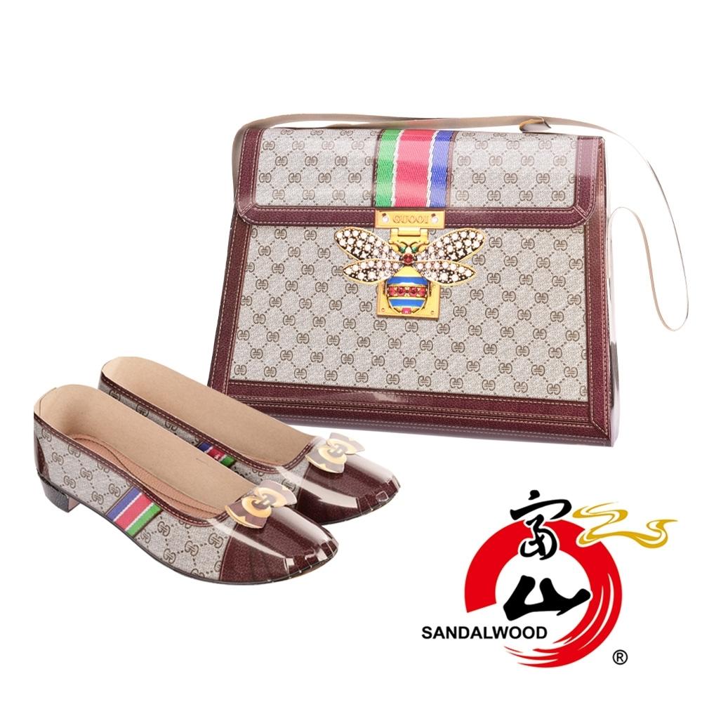 富山檀香 國際精品 典雅仕女時尚包鞋組 時尚穿搭 1:1 往生紙紮 老花手提包 老花低跟鞋 咖啡款
