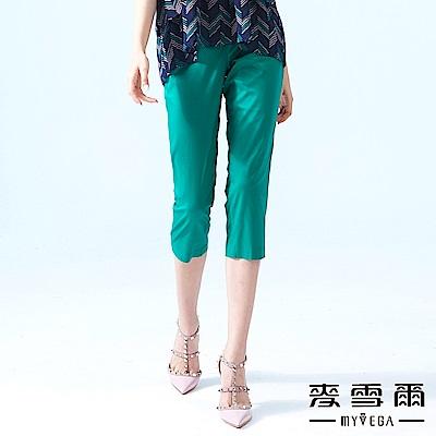 【麥雪爾】棉質純色口袋縫飾修身七分褲-綠
