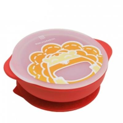 【MARCUS&MARCUS】動物樂園幼兒自主學習吸盤碗含蓋-獅子(紅)