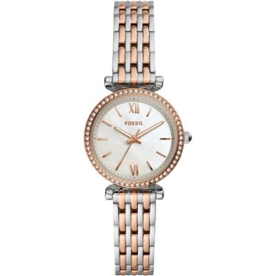 FOSSIL Carlie 羅馬時尚晶鑽女錶-珍珠貝x雙色版/28mm ES4649