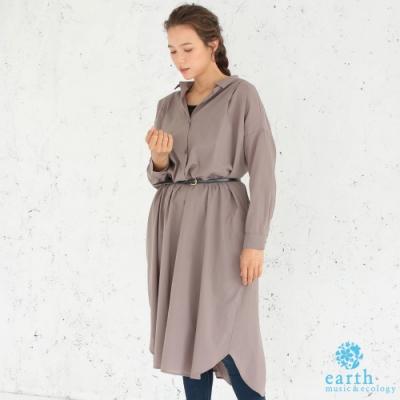 earth music 簡約素面純棉襯衫領落肩連身洋裝