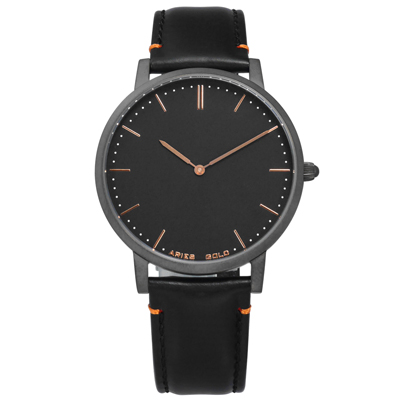 ARIES GOLD 藍寶石水晶玻璃 快拆設計 日本機芯 真皮手錶-黑x灰框/41mm