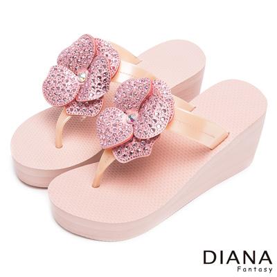 DIANA 光彩迷人-閃爍亮眼奢華大花水鑽厚底夾腳涼拖鞋-粉