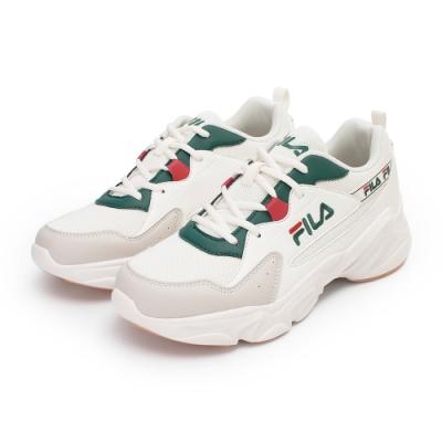 【FILA】HIDDEN TAPE 2 復古慢跑鞋 男鞋-米/綠(1-J329V-116)