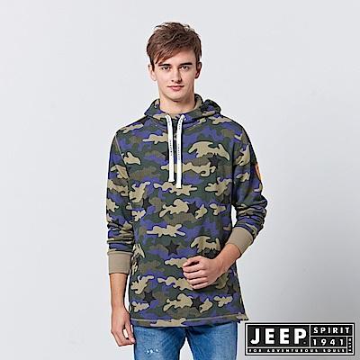 JEEP 時尚經典雪地迷彩長袖連帽TEE-軍綠色