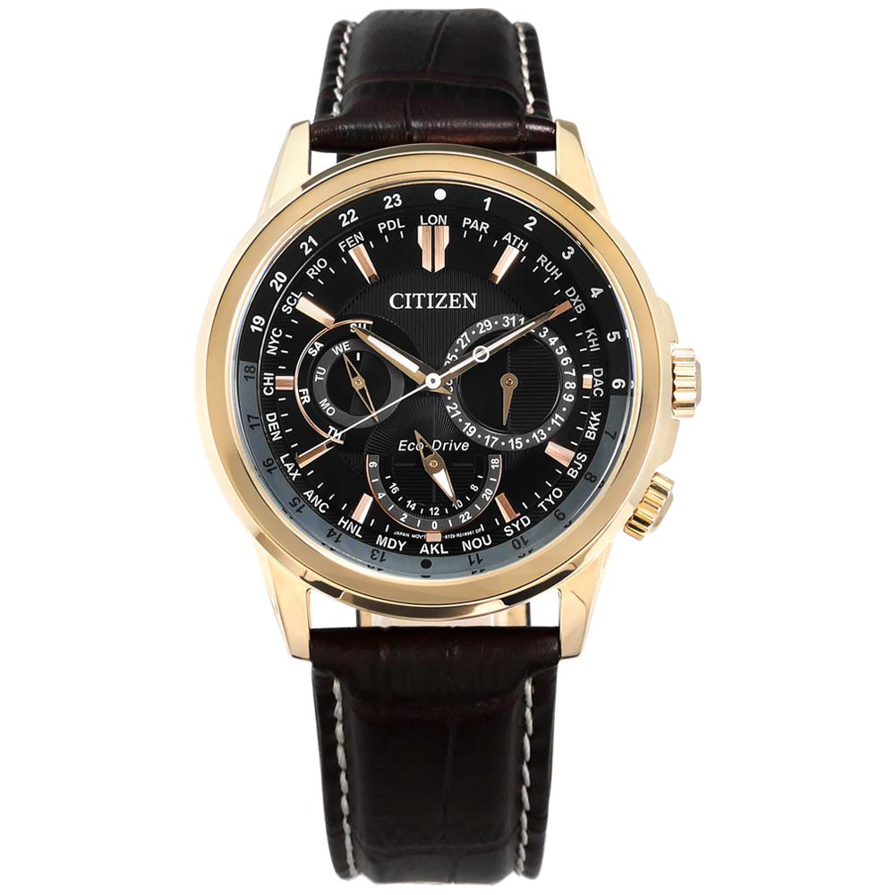 CITIZEN 光動能 世界時間 礦石強化玻璃 防水 真皮手錶-黑x香檳金x深褐/44mm