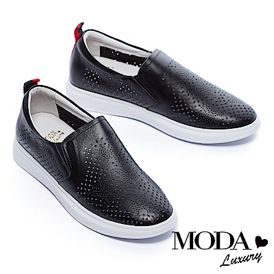 休閒鞋 MODA Luxury 蝴蝶沖孔造型全真皮厚底休閒鞋-黑