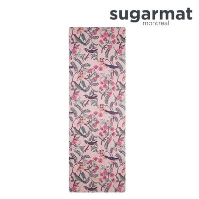 加拿大Sugarmat 麂皮絨天然橡膠加寬瑜珈墊(3.0mm) 花鳥戲春 Bird Blush Suede