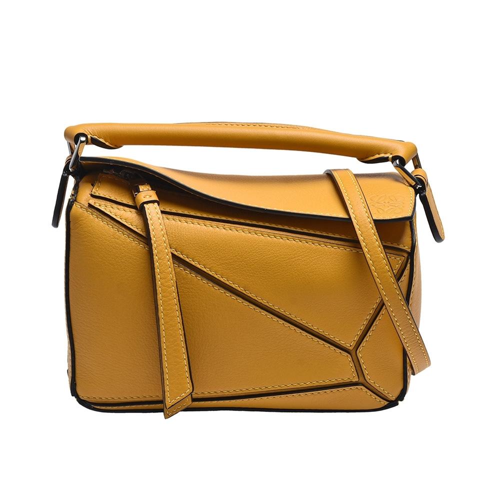 LOEWE PUZZLE BAG系列小牛皮幾何拼接設計手提/肩背包(迷你-芥末黃色)