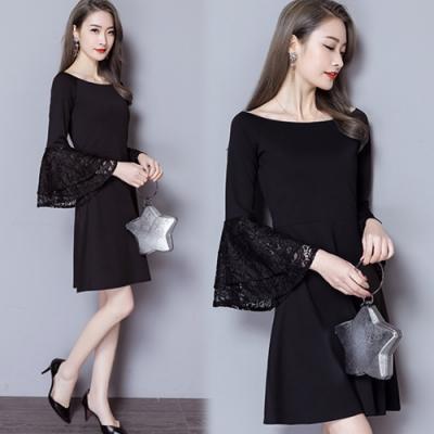 【韓國K.W.】奢華時尚寬袖蕾絲洋裝