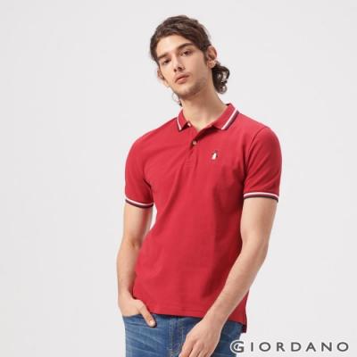 GIORDANO 男裝企鵝刺繡彈力萊卡POLO衫-24 標誌紅