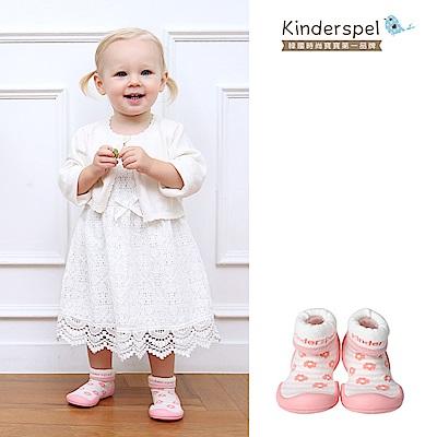 【Kinderspel】套腳腳襪型學步鞋-13CM(粉紅花朵朵)