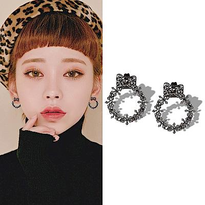 梨花HaNA 韓國925銀黑色柳釘花環耳環