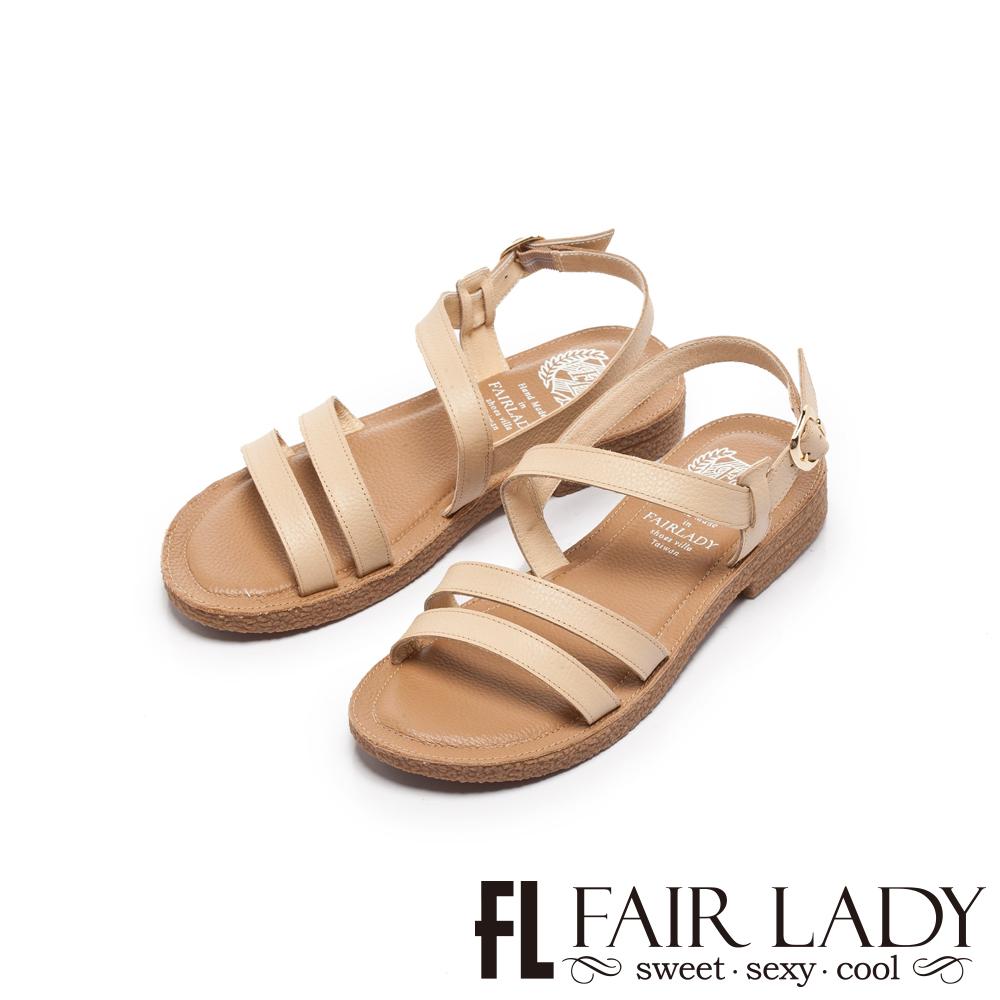 Fair Lady Soft Power軟實力百搭細版雙繫帶平底涼鞋 卡其