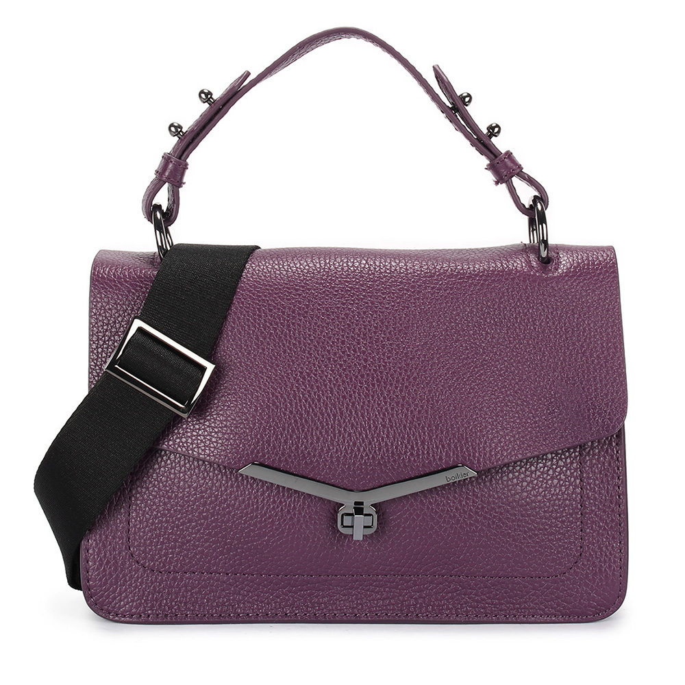 botkier VIVI 荔枝紋皮革復古旋扣翻蓋式手提/側背兩用包-紫色