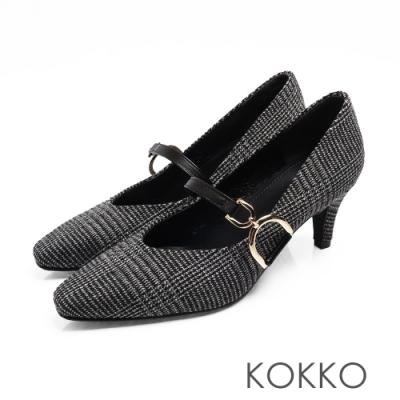 KOKKO - 優雅瑪莉珍V口D扣高跟鞋-格紋