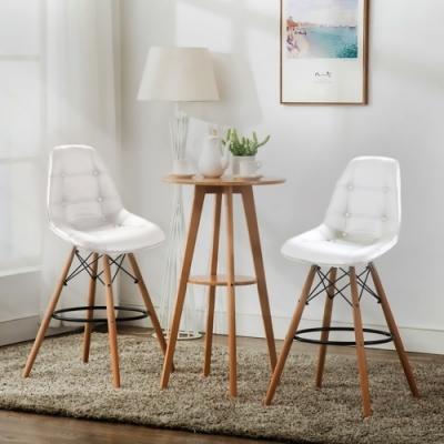 E-home EMSLH北歐經典拉扣吧檯椅 白色
