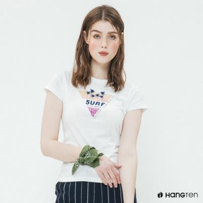 Hang Ten -女裝 - 有機棉-加州幾何圖樣短T - 白