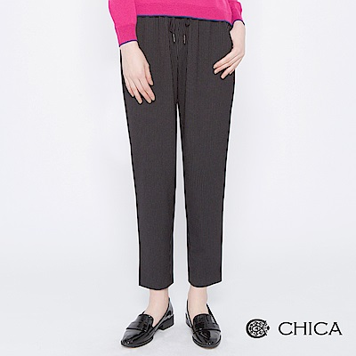 CHICA 潮流英倫鬆緊綁帶條紋老爺褲(2色)