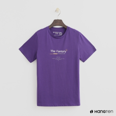 Hang Ten - 女裝 - 有機棉-簡約純色英文字T桖 - 紫