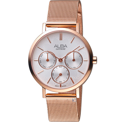 ALBA 甜心時尚腕錶(AP6608X1)玫瑰金/34mm