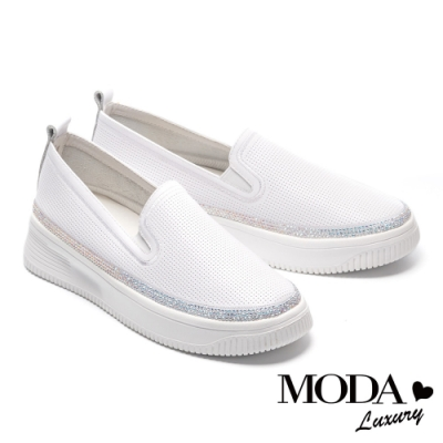 休閒鞋 MODA Luxury 百搭舒適璀璨水鑽全真皮厚底休閒鞋-白